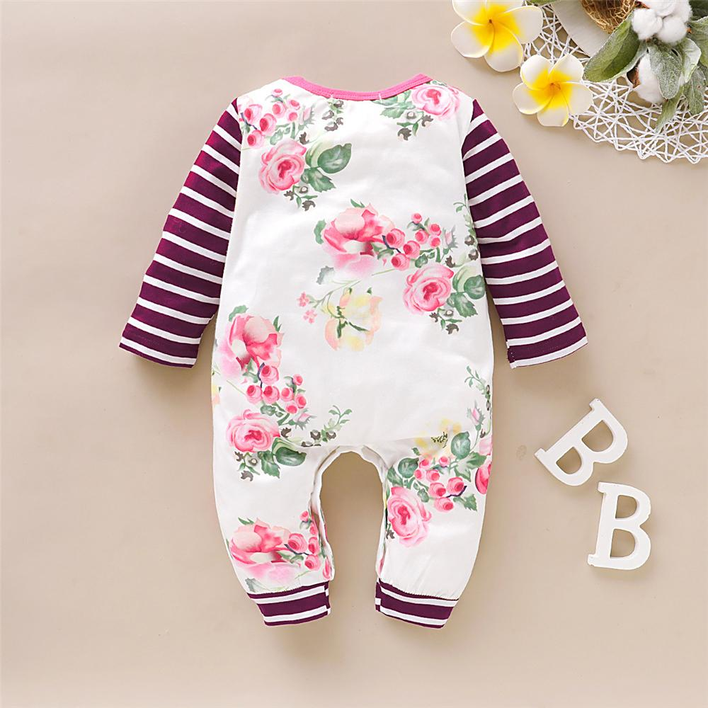 Baby Girls Striped Floral Printed Romper Baby Boutique Wholesale