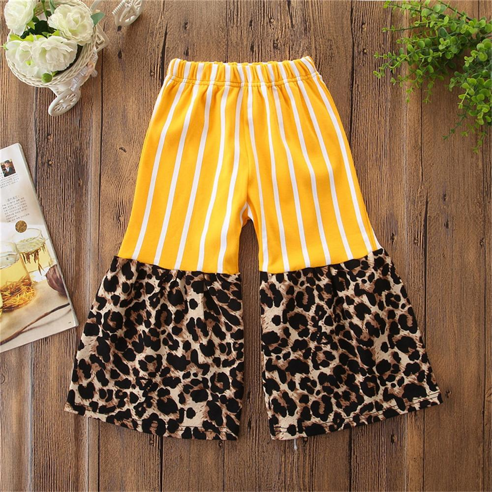 Girls Striped Leopard Printed Flared Summer Trousers Baby Outfits Girl - PrettyKid