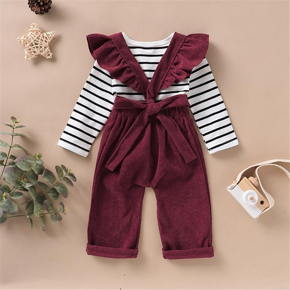 Girls Striped Long Sleeve Casual Top & Solid Color Jumpsuit Kids Fashion Wholesale - PrettyKid