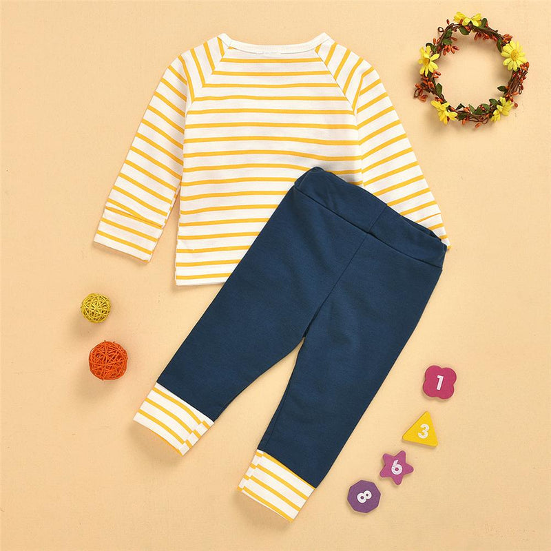 Baby Girls Striped Long Sleeve Top & Pants Wholesale Baby Cloths
