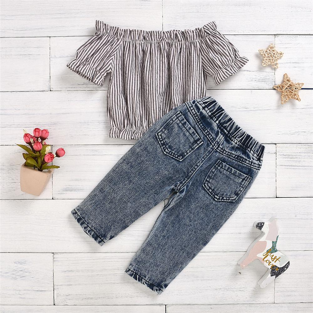 Girls Striped Short Sleeve Off Shoulder Top & Ripped Jeans Children's Wholesale Boutique clothes - PrettyKid