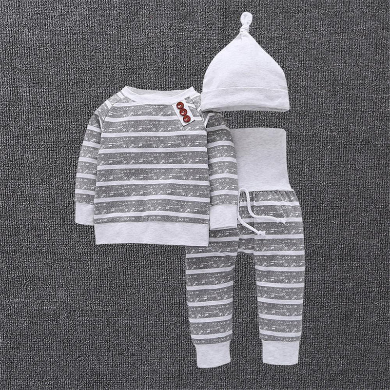 Baby Boys Striped Solid Long Sleeve Casual Tops & Pants & Hat