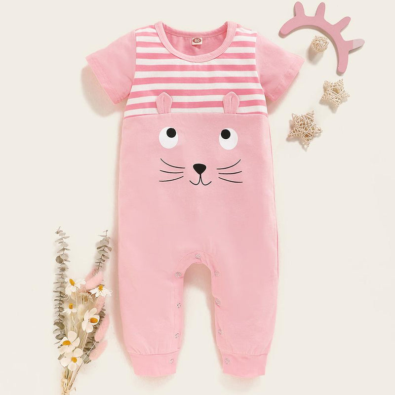 Baby Girls Striped Splicing Kitty Short Sleeve Romper Wholesale clothes Baby
