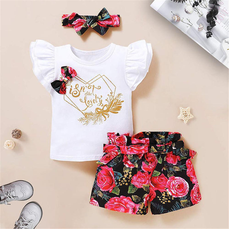 Baby Girls Summer Letter Floral Printed Top & Shorts & Headband Baby clothes Cheap Wholesale