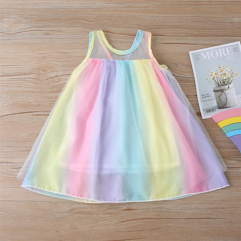 Girls Summer Sleeveless Princess Tulle Dress Wholesale Little Girl Boutique Clothing