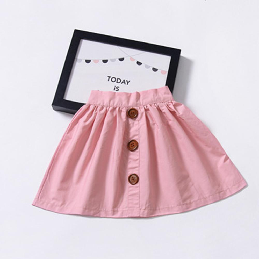 Girls Summer Solid Color Button Skirt Trendy Kids Wholesale clothes