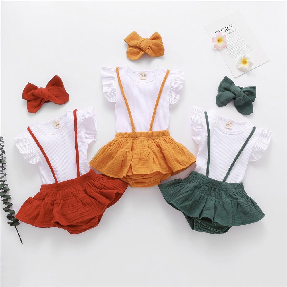 Baby Girls Summer Solid Flying Sleeve Top & Suspender Romper & Headband baby wholesale kids jeans - PrettyKid