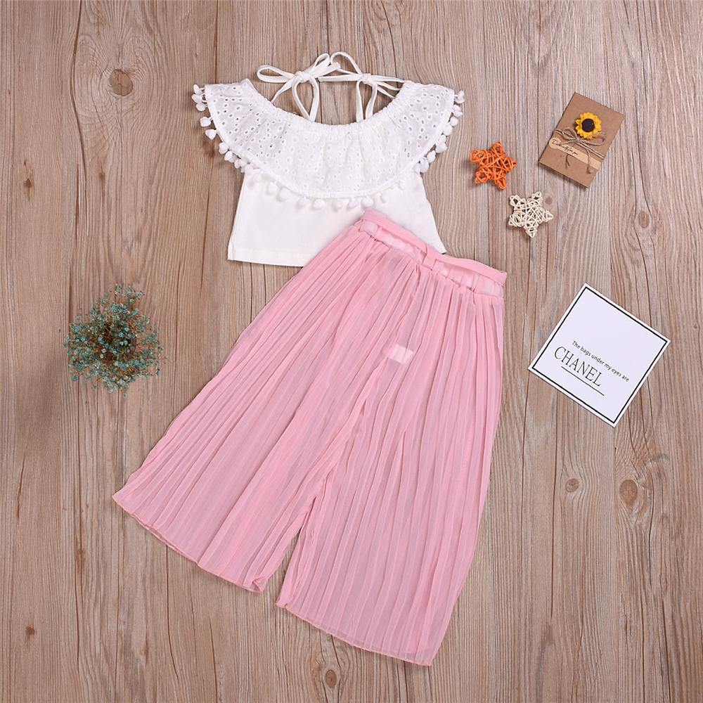 Girls Summer Solid Tassel Sleeveless Top & Pants Toddler Girl Wholesale Clothing