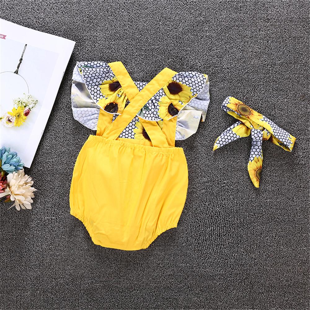 Baby Girls Sunflower Printed Sleeveless Romper & Headband Wholesale Baby Boutique Items