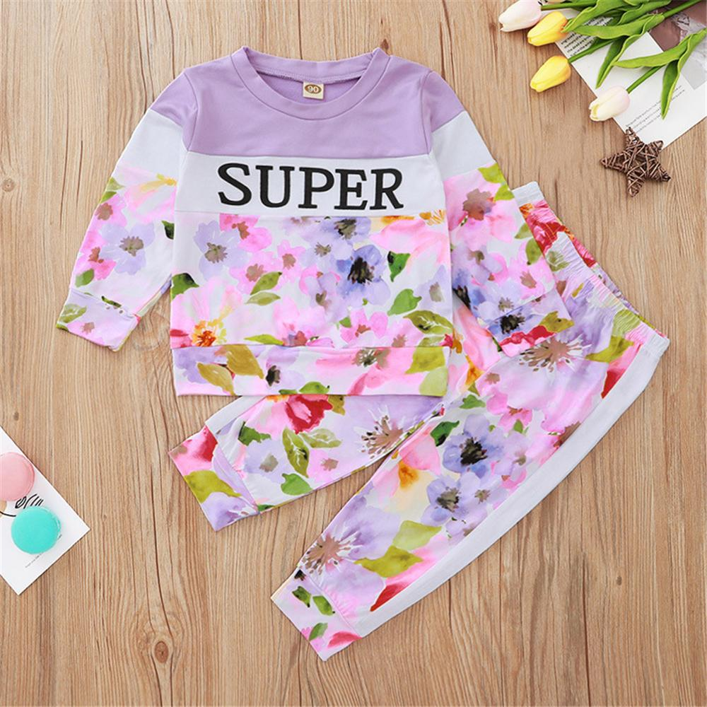 Girls Super Floral Printed Long Sleeve Top & Pants Bulk Baby Girl Clothes