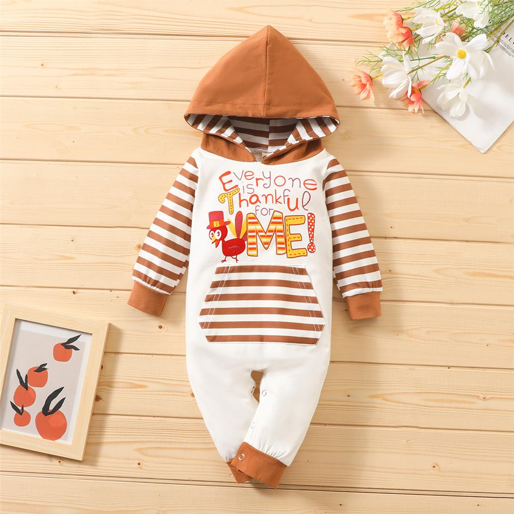 Baby Unisex Thanksgiving Turkey Striped Hooded Romper Baby Outfits - PrettyKid