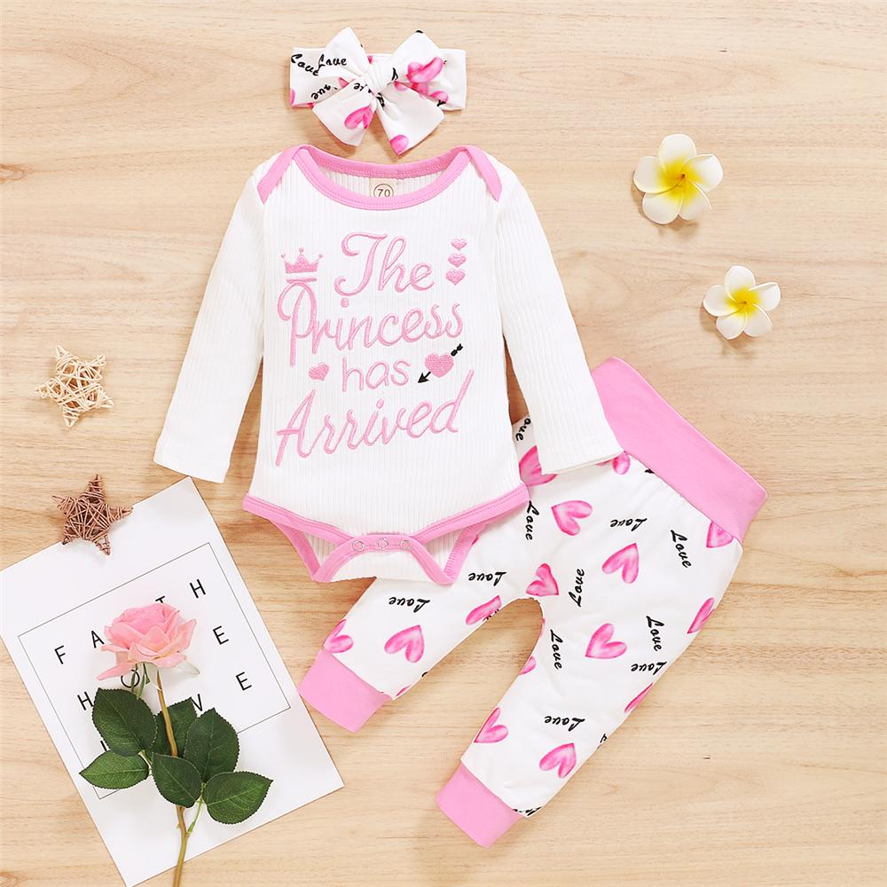 Baby The Princess Has Arrived Long Sleeve Romper & Heart Printed Pants & Headband Baby Wholesale - PrettyKid