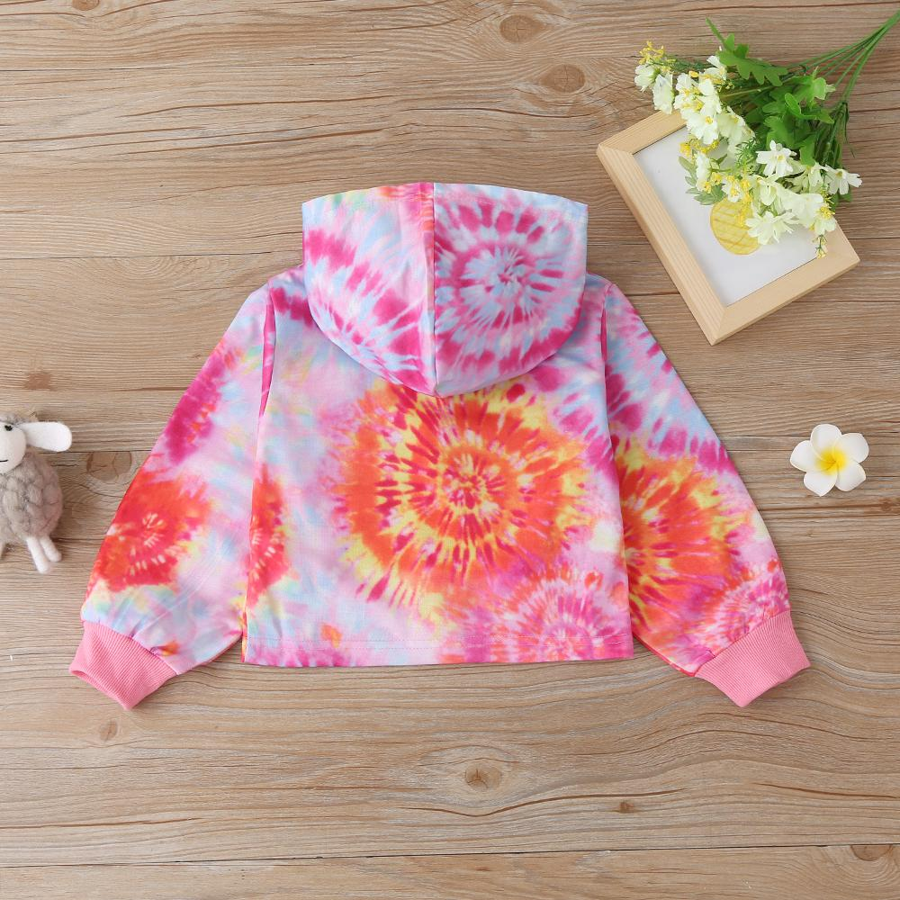 Toddler Girls Tie Dye Hooded Zipper Long Sleeve Jacket Kids Wholesale Clothing