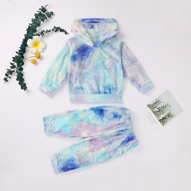 Unisex Tie Dye Long Sleeve Hooded Tops & Pants
