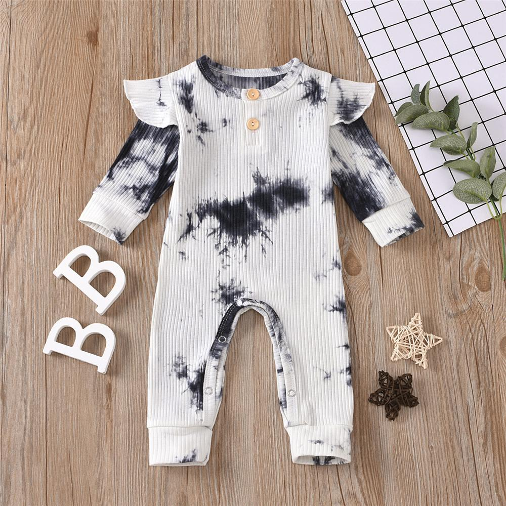 Baby Girls Tie Dye Long Sleeve Romper Baby Ruffle Rompers Wholesale - PrettyKid