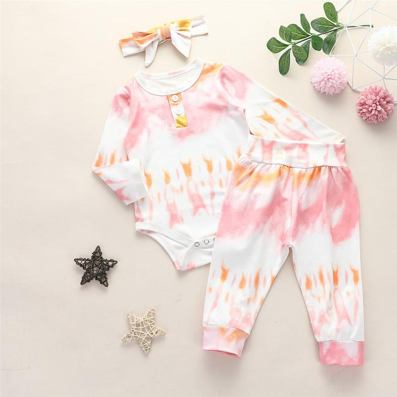 Baby Girls Tie Dye Long Sleeve Romper & Trousers & Headband - PrettyKid
