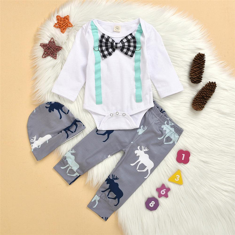 Baby Boys Tie Long Sleeve Romper & Animal Print Pants & Hat Wholesale Baby