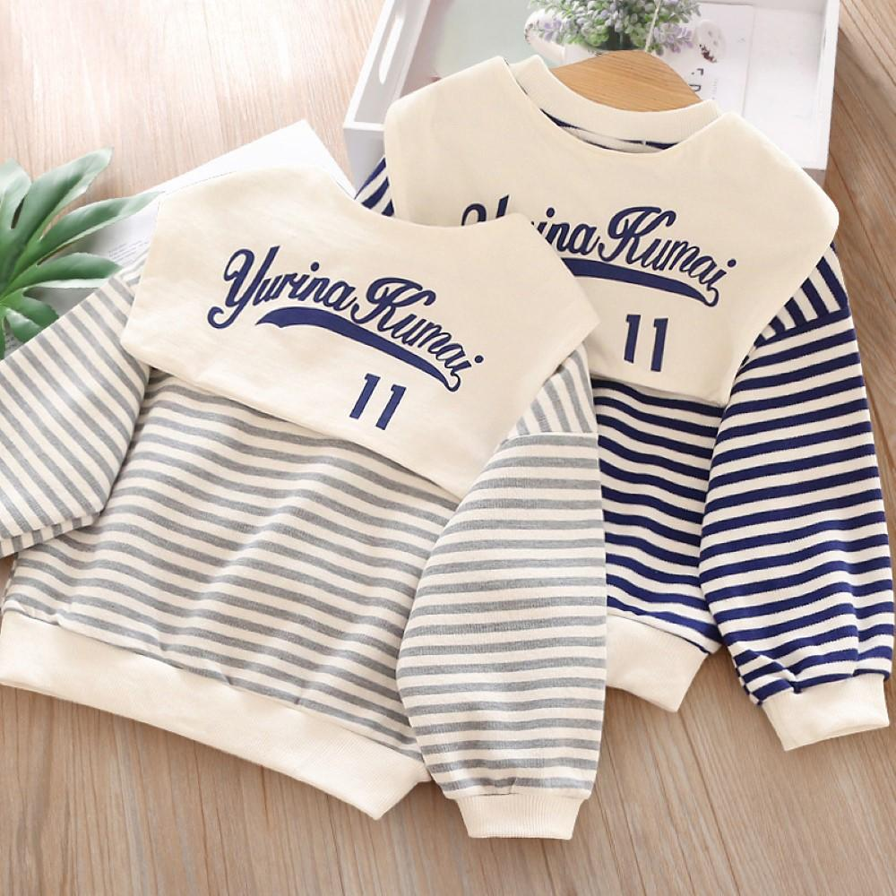 Toddler Boys Striped Printed Long Sleeve Top Wholesale Boys Clothes