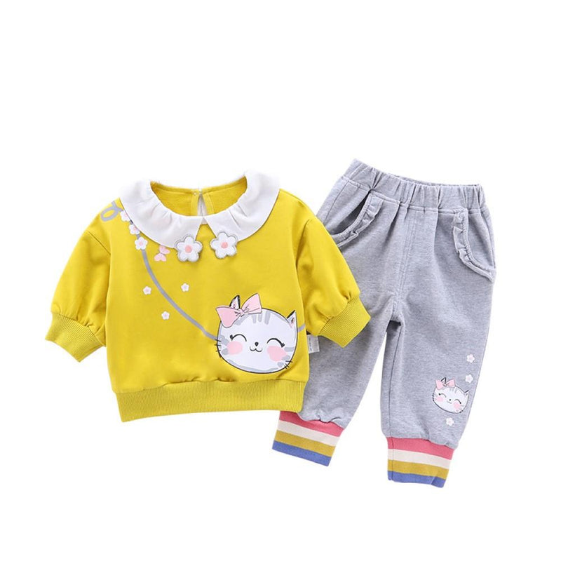 Toddler Girls Cartoon Cat Printed Top & Pants Girl Wholesale