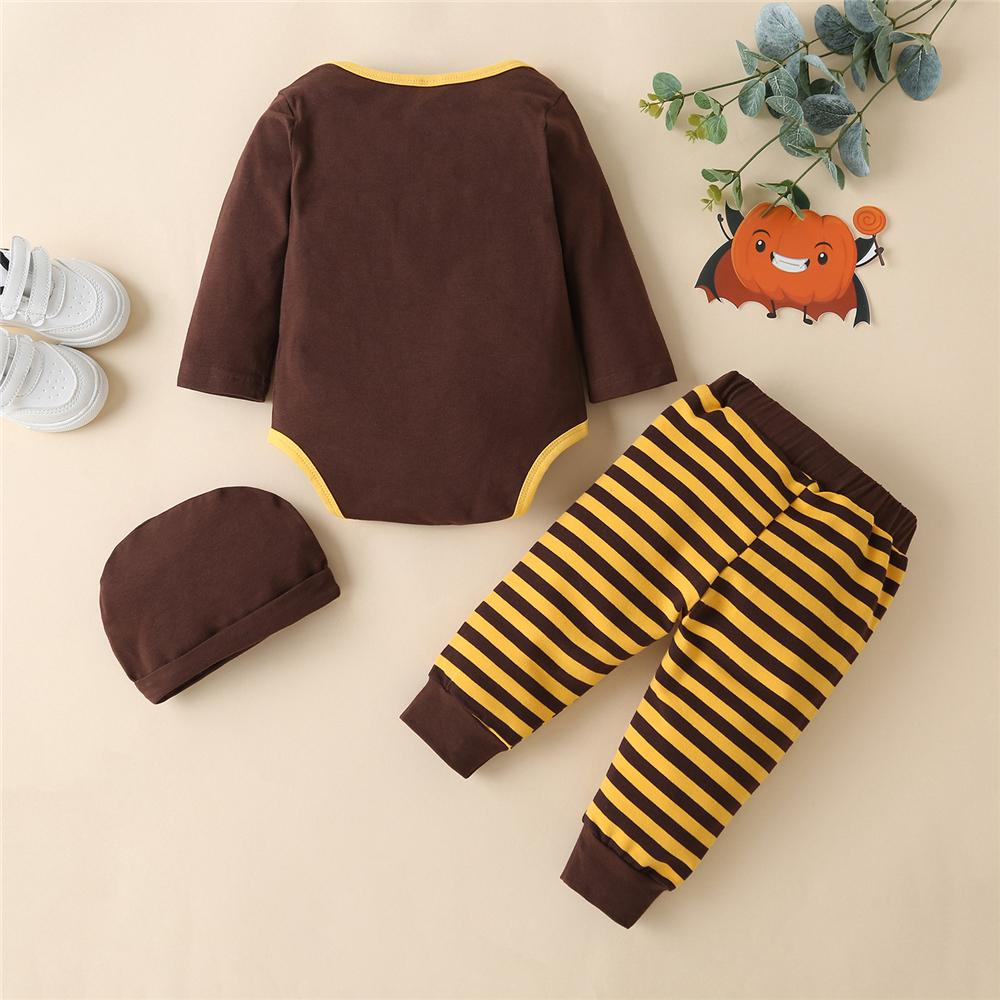 Baby Unisex Turkey Striped Printed 3 Pieces Baby Clothing Cheap Wholesale