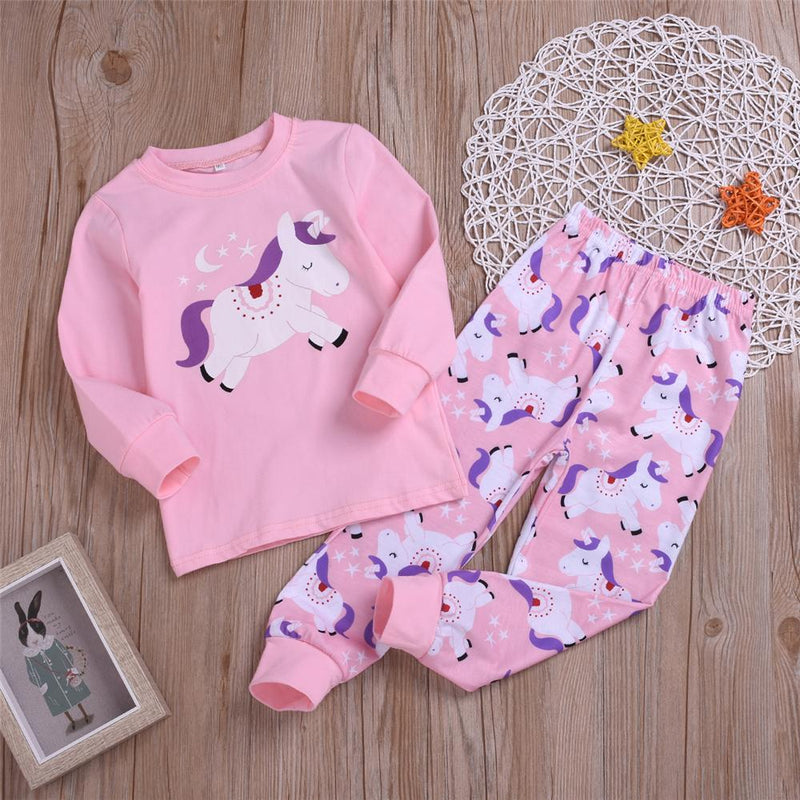 Girls Unicorn Cartoon Printed Top & Pants Wholesale Childrens Clothing - PrettyKid