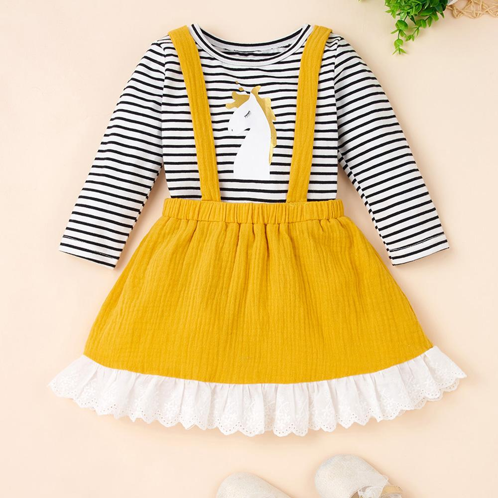 Baby Girls Unicorn Stripe Top & Suspender Skirt Baby Clothes Vendors - PrettyKid