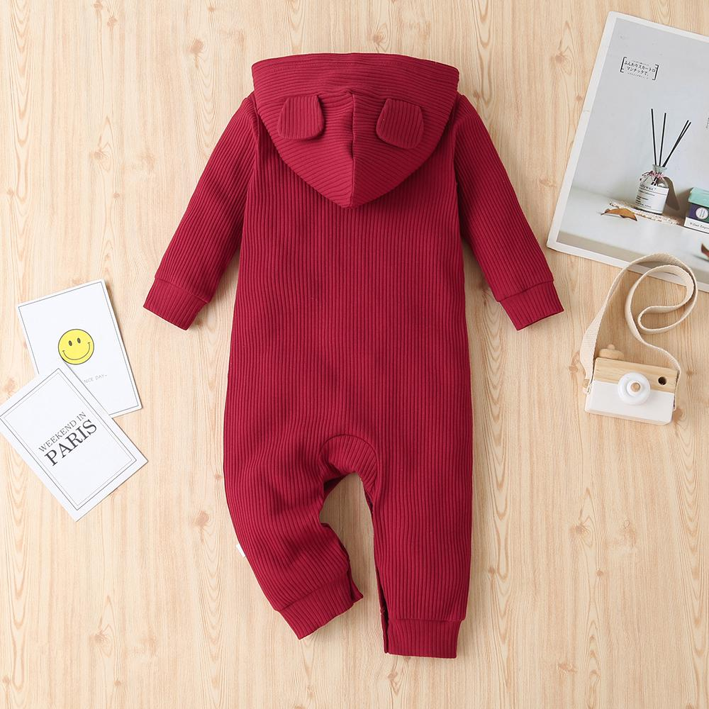 Unisex Baby Hooded Long Sleeve Cute Casual Romper Baby Wholesale Clothes
