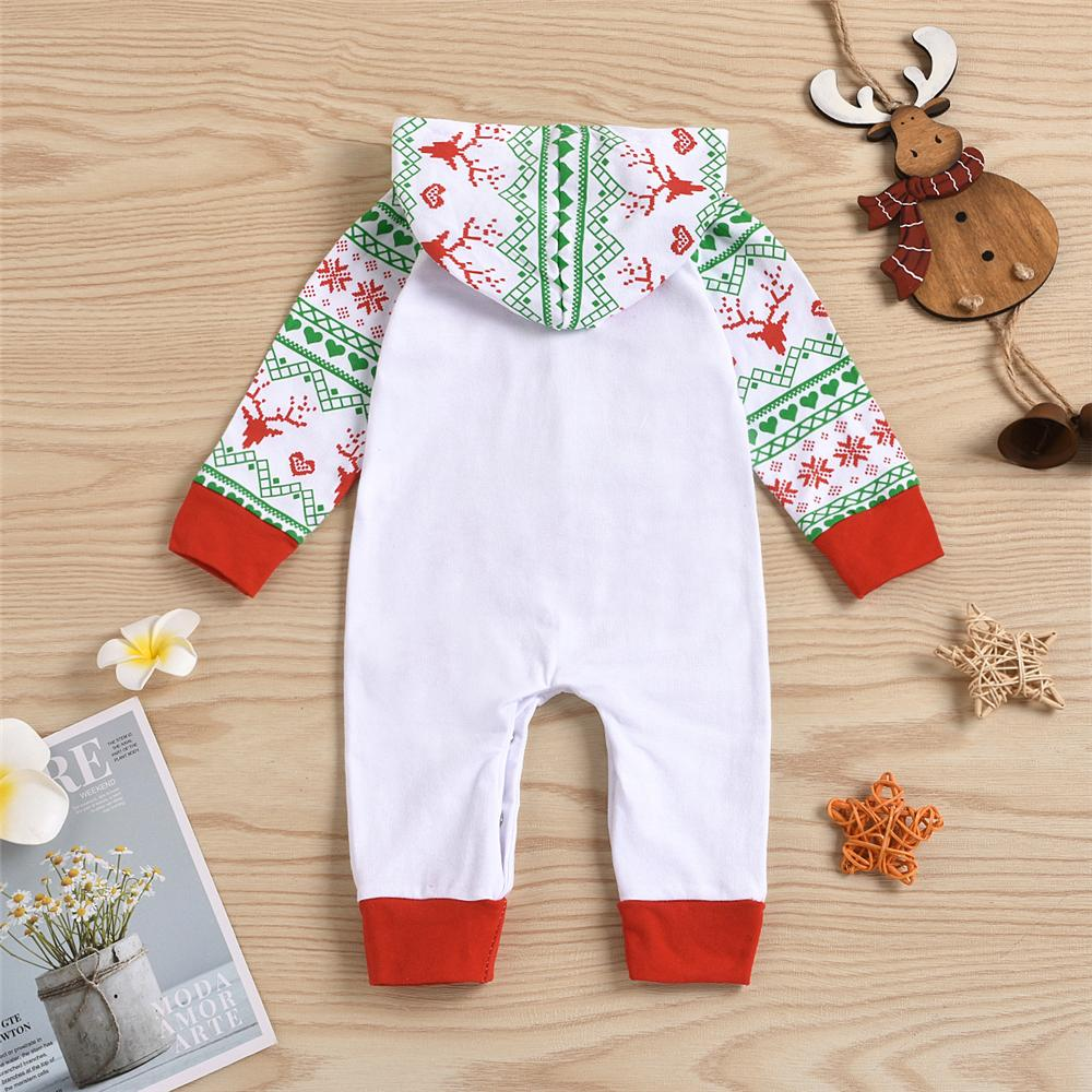 Baby Unisex Christmas Letter Hooded Romper Baby Clothes Vendors