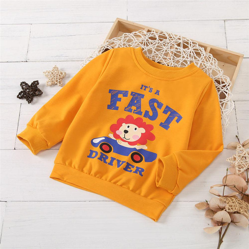 Unisex Fast Driver Printed Long Sleeve T-Shirt Trendy Kids Wholesale Clothing