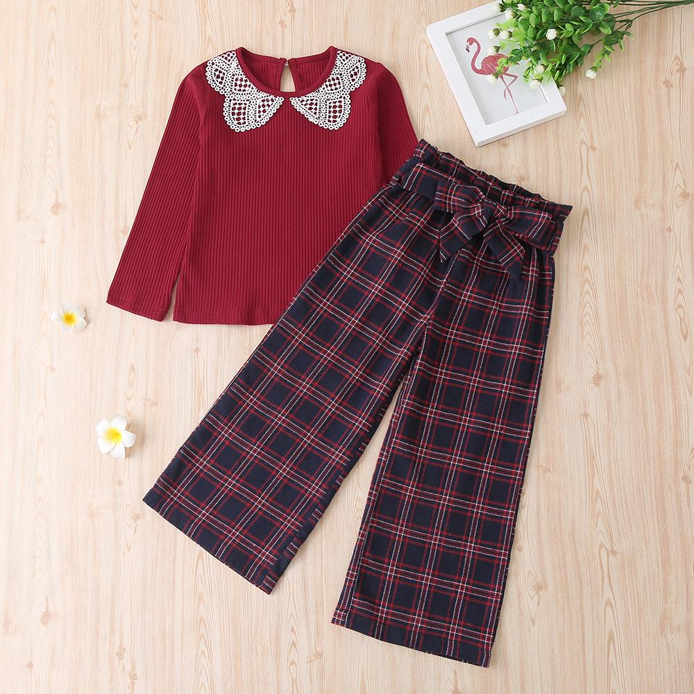 Girls Vintage Lace Collar Solid Tops & Plaid Pants Wholesale Girls Accessories - PrettyKid