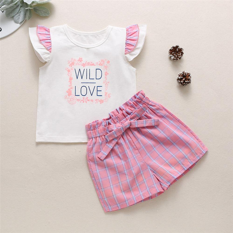 Girls Wild Love Short Sleeve Top & Plaid Shorts Wholesale clothes For Girls