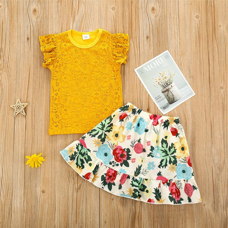 Girls Yellow Lace Sleeveless Top & Floral Skirt Kids Wholesale clothes