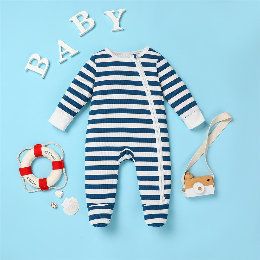 Baby Zipper Striped Long Sleeve Romper Baby Clothing Cheap Wholesale