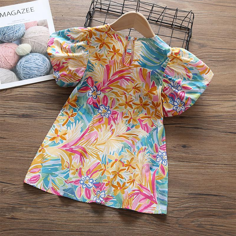 Toddler Girl Floral Print Puff Sleeve Dress