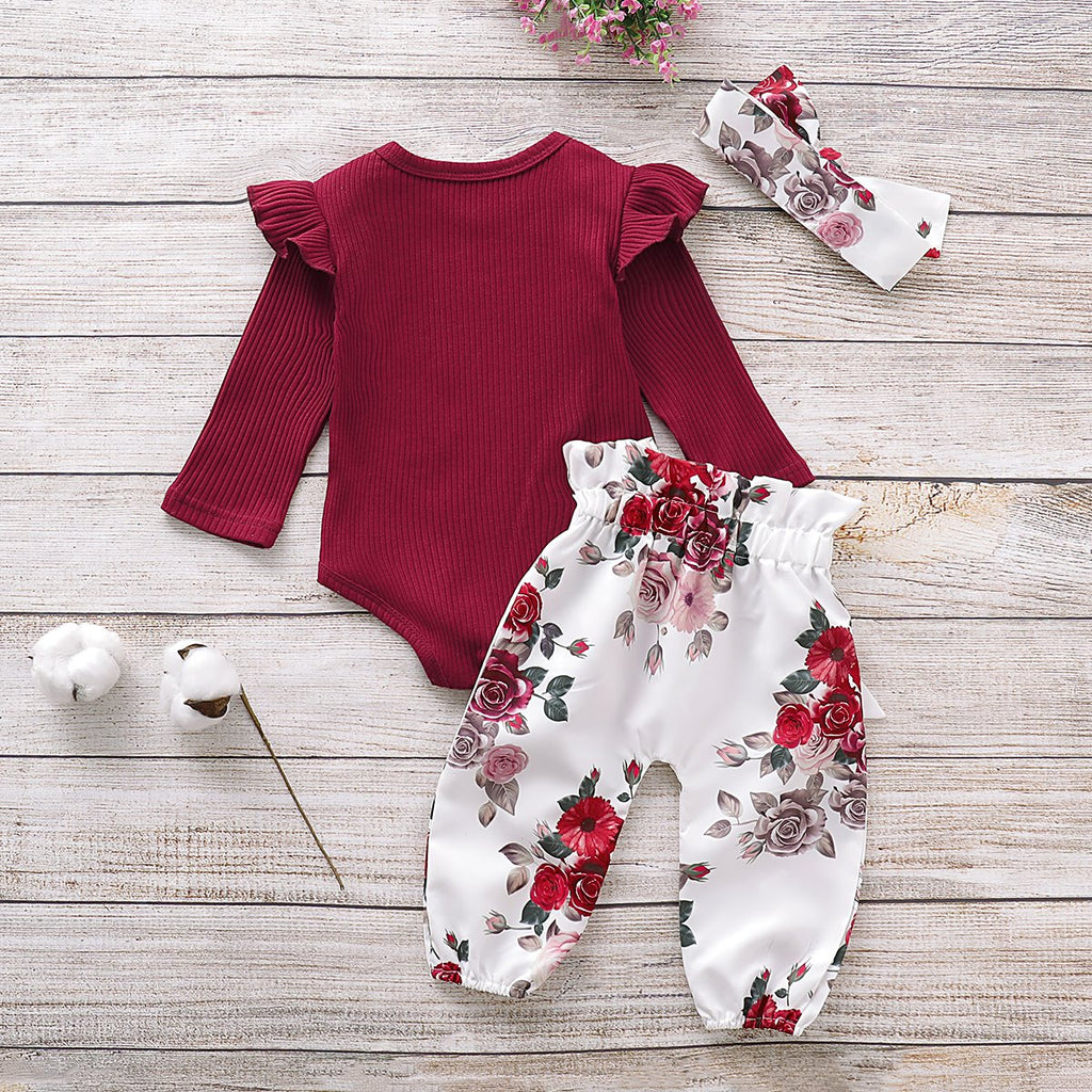 3-Piece Long-Sleeve Ruffled Bodysuit, Floral Pants and Headband Children's clothing wholesale - PrettyKid