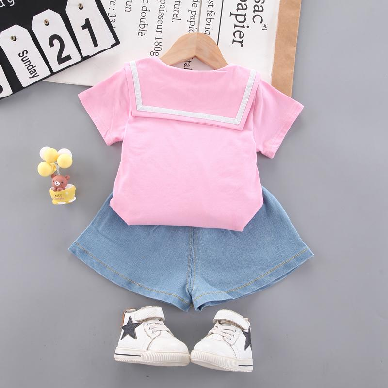 Toddler Girl Letter T-shirt & Solid Color Shorts Wholesale Children's Clothing