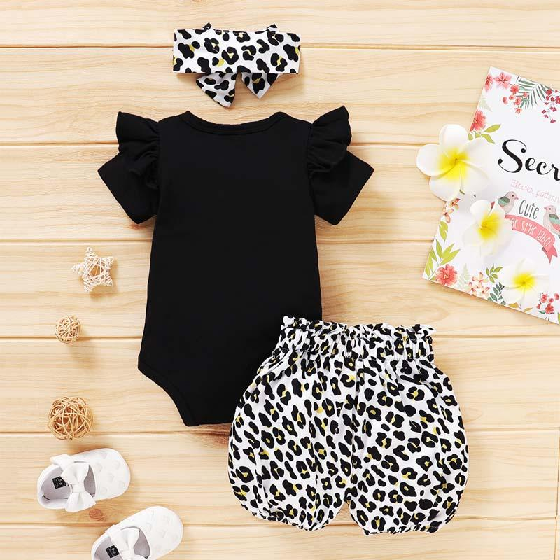 3-piece Letter Pattern Bodysuit & Shorts & Headband for Baby Girl Wholesale children's clothing