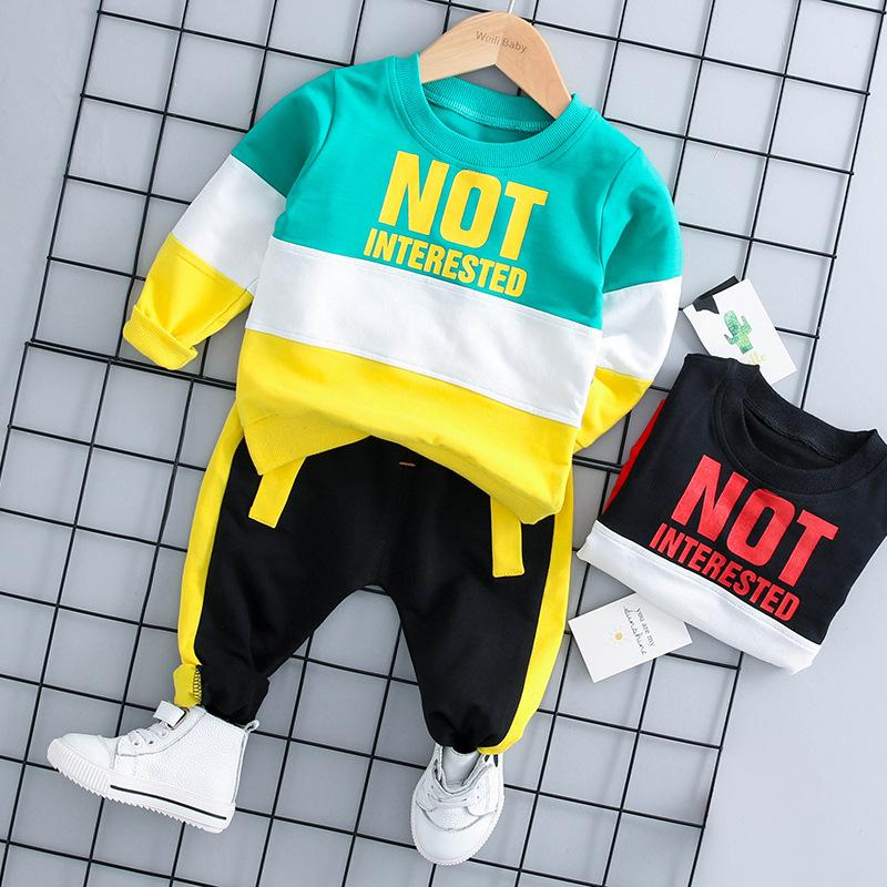 2-piece Color Contrast Pullover & Pants for Toddler Boy Children's clothing wholesale - PrettyKid