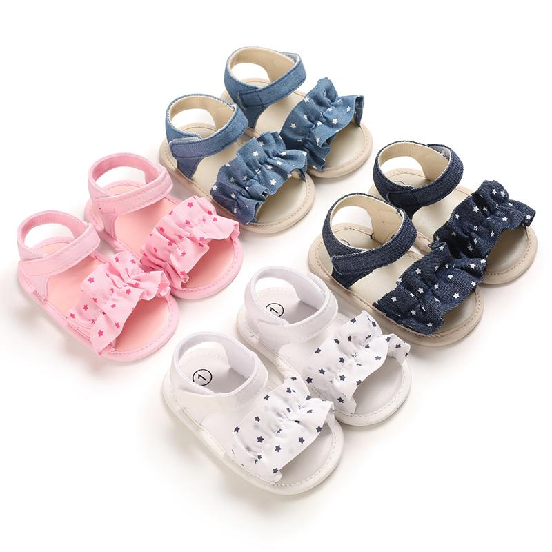 Wholesale Kid Clothing Vendors Velcro Ruffle Baby Shoes
