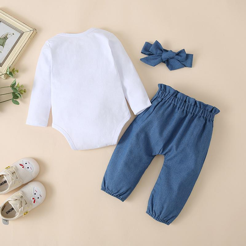 3-piece Romper & Headband & Pants for Baby Girl Wholesale children's clothing