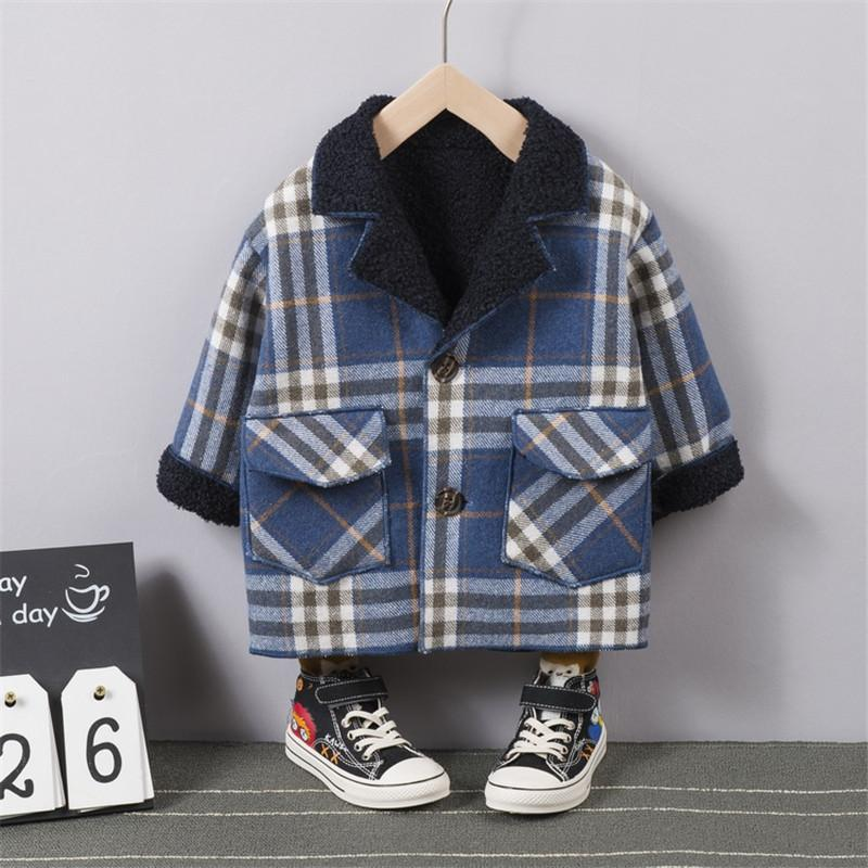 Fleece-lined Plaid Jacket for Toddler Boy Wholesale children's clothing