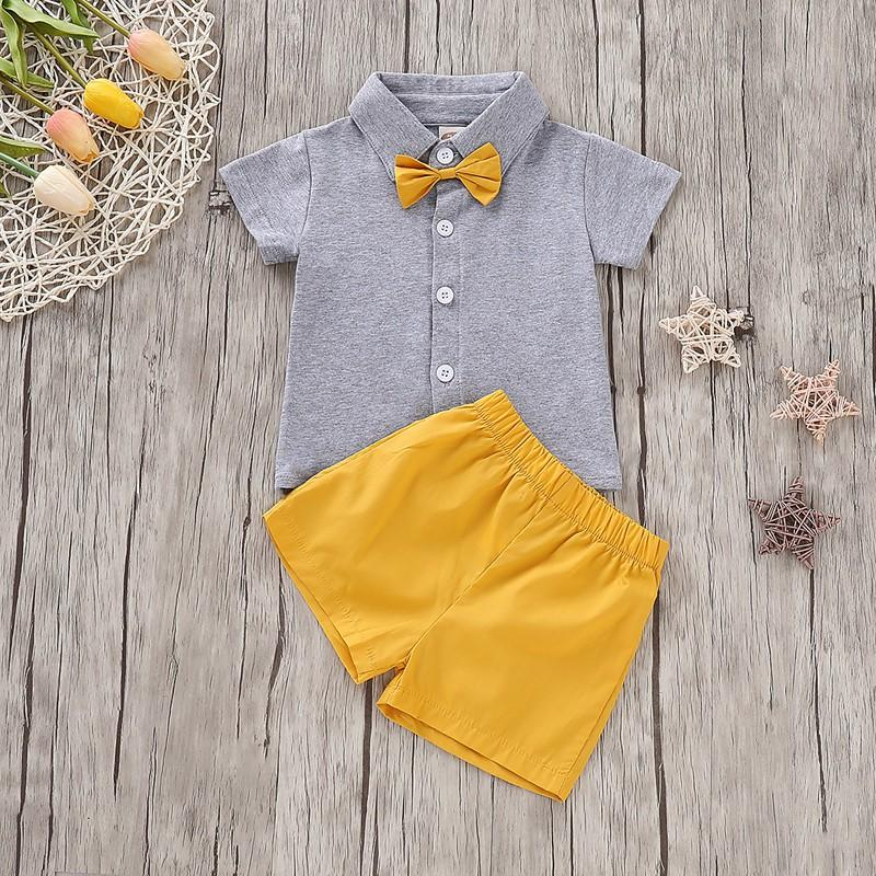 Preppy Style Short-sleeve T-shirt with Bowknot and Pants Set for Baby Clothing Wholesale