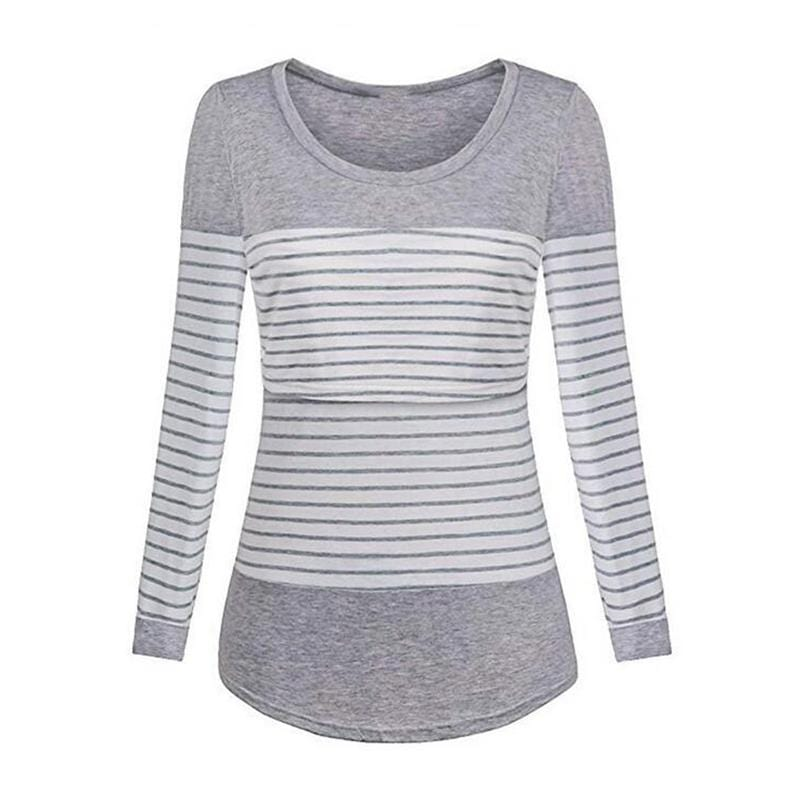 Long-Sleeve Striped Nursing Top Wholesale children's clothing