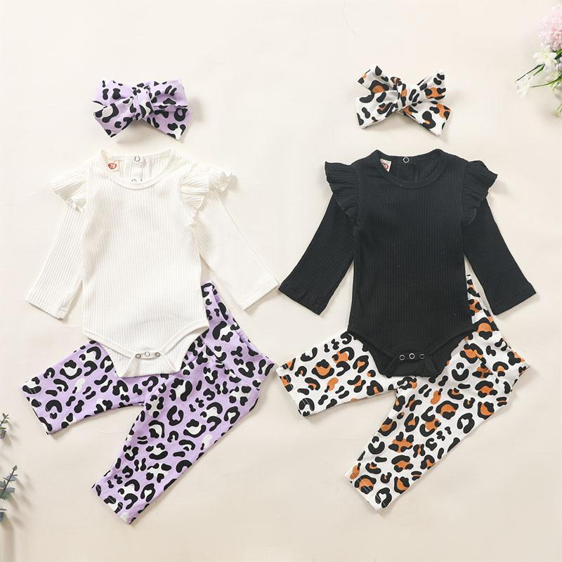 3-piece Headband & Leopard Pattern Pants & Romper for Baby Girl - PrettyKid