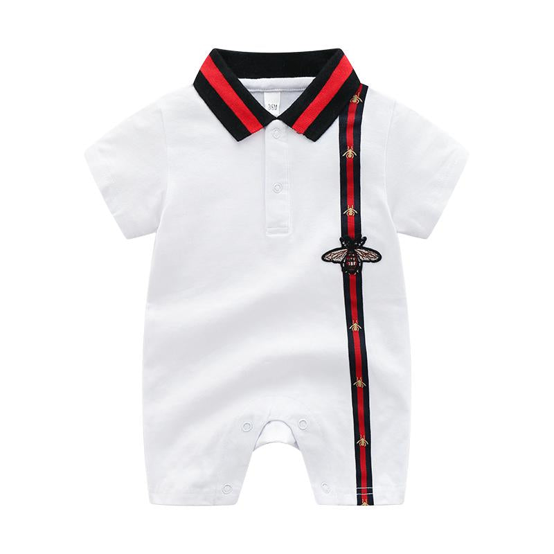 Preppy Stripes Lapel Short-sleeve Jumpsuit Children's clothing wholesale