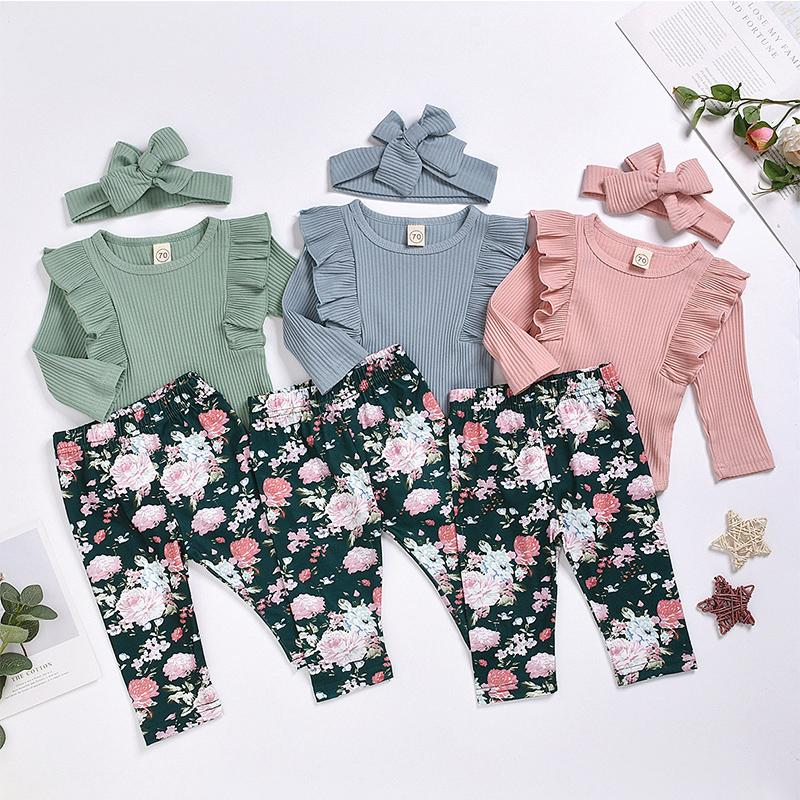 3-piece Solid Ruffle Bodysuit & Floral Printed Pants & Headband for Baby Girl Wholesale children's clothing - PrettyKid
