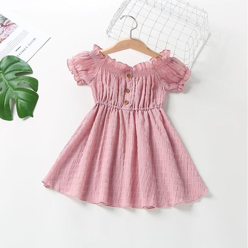 Toddler Girl Solid Color Puff Sleeve Dress Wholesale Children's Clothing