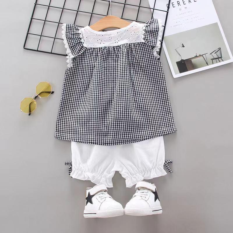 Toddler Girl Mori Little Flying Sleeve Top & Bow Shorts Wholesale Children's Clothing