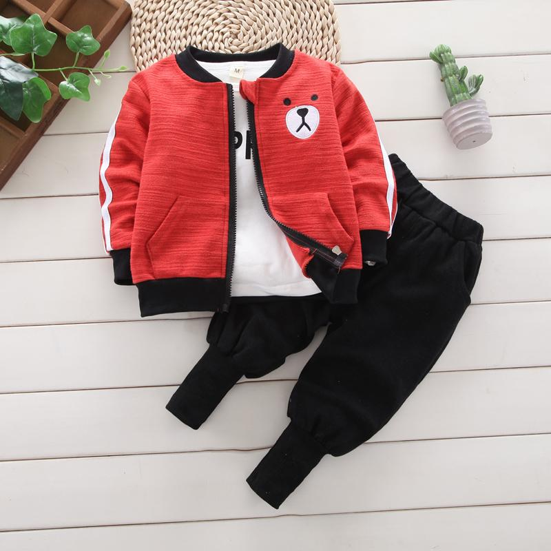 3-piece Bear Pattern Coat & Sweatshirt & Pants for Children Boy - PrettyKid