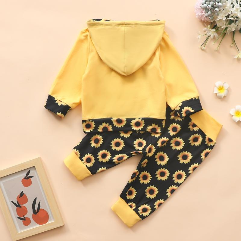 2-piece Hoodie & Sunflower Pattern Pants for Baby Girl Wholesale children's clothing